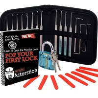 Actorstion 15 Piece Lock Pick Set with Transparent Blue Padlock and...