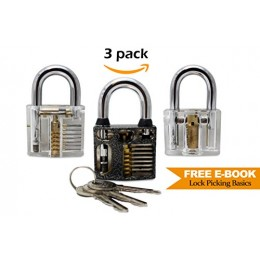 Locksmith Trainer - 3 Pack Practice Padlock - Includes Metal Heavy Duty Cutaw...