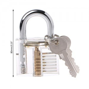 "Forgun 80mm/3.15"" Transparent Cutaway Locks Inside View Practice Padlock Visi..."