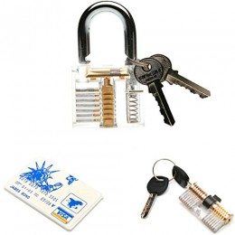 3-Pack Practice Lock Set, HGX LOCKS Transparent Crystal Keyed Padlock, Traini...