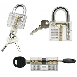 3 Pack Practice Lock Set, LepoHome Transparent Crystal Keyed Padlock, Lock Pi...