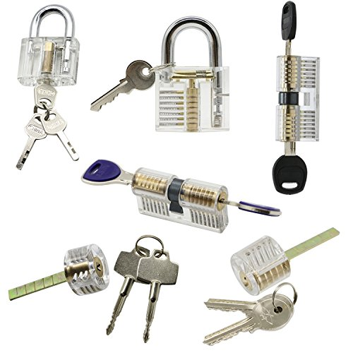 6 Pieces Practice Training Lock Set, LepoHome Transparent Cutaway Crystal Key...