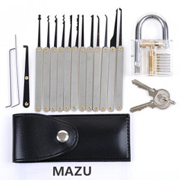 12-Piece Unlocking Lock Pick Set Key Extractor Tool + Transparent Practice Padlocks