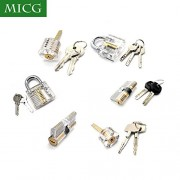 MICG 6pcs Locks Transparent Visible Cutaway Practice Kit Padlock Door Lock Pi...