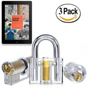 Deluxe Transparent Practice Lock Set with E-Book - 3 Clear Training Cutaway L...