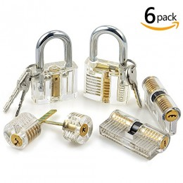 6pcs Transparent Practice Lock Set, Sopoby Visible Cutaway Pin Tumbler Keyed ...