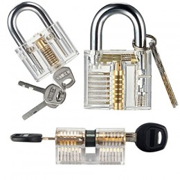 Sopoby Practice Lock Set, Transparent Training Cutaway Crystal Pin Tumbler Ke...